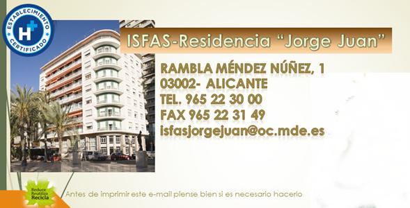 Os recordamos que está abierto plazo solicitud Residencia Jorge Juan Alicante-ISFAS