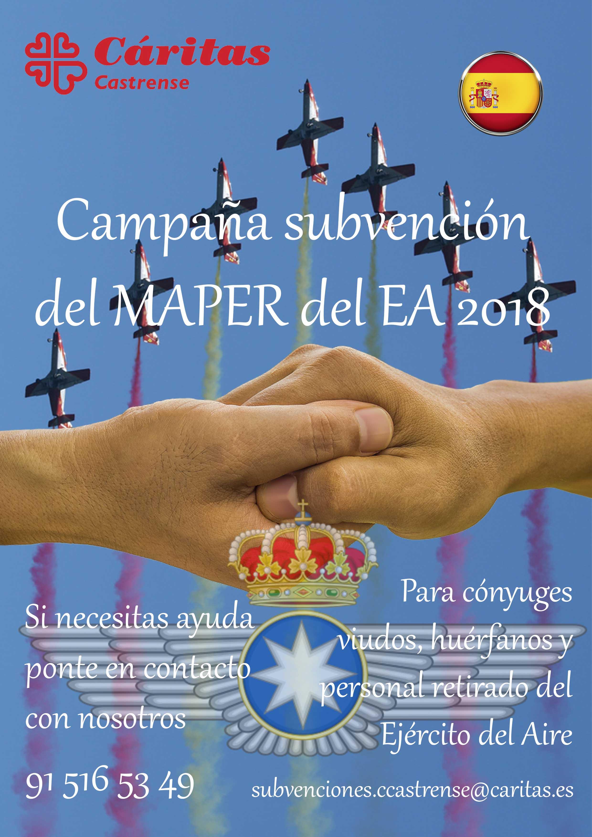 Cáritas Castrense – Campaña de subvención del MAPER
